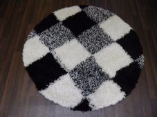 SHAGGY NEW 120X120CM CIRCLE RUGS WOVEN BACK CHECK THICK BLACK OFF/WHITE MINGLE